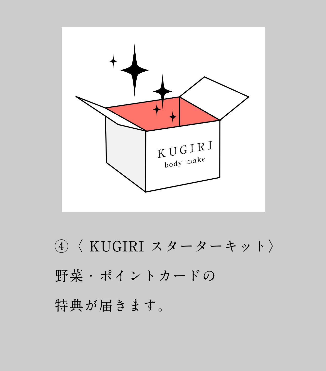 ④〈 KUGIRI スターターキット〉野菜・ポイントカードの特典が届きます。